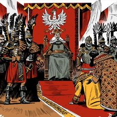 """Russian Tzars in front of Polish King on their knees; it is """"Russian Tribute"""" Character Concept, Character Design, Medieval, Poland History, Chivalry, European History, Fantasy Inspiration, Cartography, Coat Of Arms"""