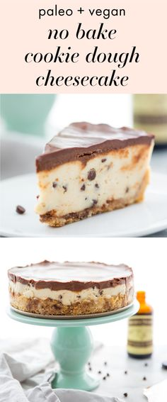 This vegan no bake cookie dough cheesecake is paleo and free of refined sugars but totally loaded with taste. With a tangy-sweet cheesecake filling, reminiscent of spoonfuls of cookie dough and dotted with chocolate chips, this vegan no bake cookie dough cheesecake is the perfect vegan no bake dessert. With a chocolate chip crust and ganache topping, you'd never know this paleo no bake cookie dough cheesecake is healthy!