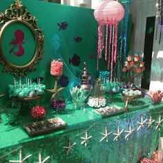 Gorgeous treats at a mermaid birthday party! See more party ideas at CatchMyParty.com!