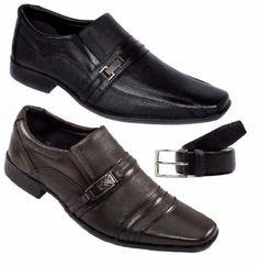 kit 2 pares sapato social couro legítimo + cinto