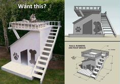 Get design ideas with pictures to build your own DIY Dog House. Free Dog House Plans included at end of article. 30 awesome dog house designs with pictures. Build A Dog House, Dog House Plans, Doggy House, Cabin Plans, Diy Pet, House Construction Plan, Positive Dog Training, Cool Dog Houses, Pet Houses