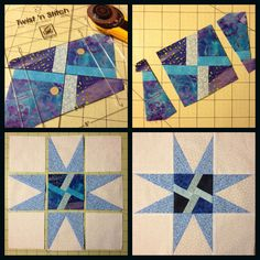 """WIP - Block of the Month I'm stitching up blocks for blocklotto. The block is a star with """"made"""" fabric in the center. I use two tools to make my blocks. I used the Tri Recs ruler to make the points...."""
