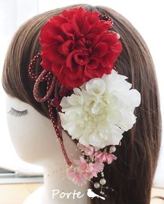 ダリアと桜の和装用花飾り ウェディングブーケ・花冠・通販専門店「ぽると」