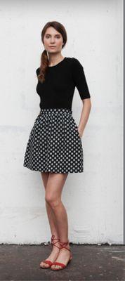 black skirt + pattern skirt + red shoes