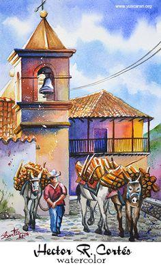 Watercolor Illustration, Watercolor Paintings, Tegucigalpa, Gandalf, Spanish Style, Art Drawings Sketches, Prismacolor, Petunias, Honduras