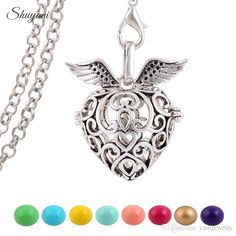 10pcslot fashion hollow openable cage locket necklace baby ball heart pendant necklaces hollow chime bola harmony ball pendant wishing angel baby pregnant women gifts statement aloadofball Images