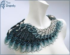 Stormy Petrel necklace by Ann Braginsky ~~ 2nd place winner in Bead Dreams 2012 contest, category Seed Bead Jewelry