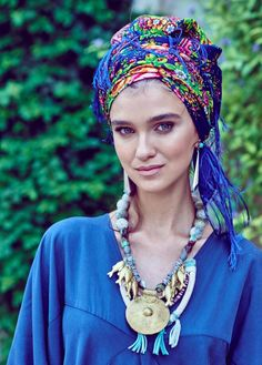 This Uzbekistan style head cover can be tied in so many different ways, as you wish. it could be used as an accessories scarf on the shoulders or neck. The blue headcover is sold out but it comes in Yellow:)