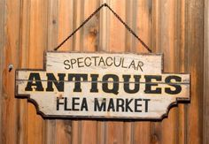 Metal-Antiques-Flea-Market-with-Chain-Sign-Large-Vintage-Look