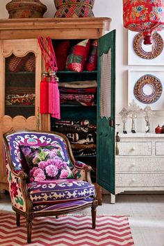 Searching for upholstery, home decor fabrics (kilim, suzani) to bring in some color to a very neutral living room.