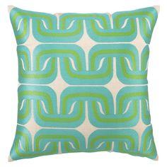 Trina Turk Pillow Embroidered Linen Geo Link Blue/Green @Layla Grayce