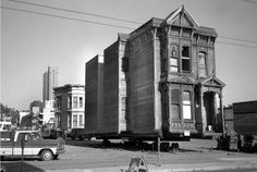 This building has been restored and now sits at 1732 Fillmore near Sutter, Western Addition district, San Francisco. Photograph taken 1976 Building Movers, Building A House, Victorian Buildings, Victorian Homes, San Francisco Pictures, San Francisco Neighborhoods, House Movers, Places In California, San Fransisco