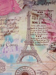 CR248 Paris Eiffel Tower Postcards Travel Cotton Fabric Quilt Fabric