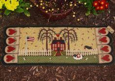 Prim House & Sheep penny rug table runner Pattern