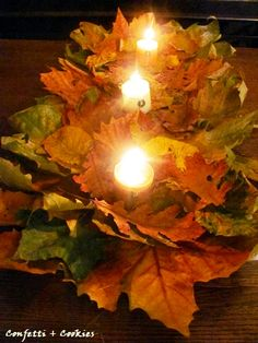 Easy autumn table runner -- just glue leaves to a strip of paper. Perfect for Thanksgiving or Autumn party
