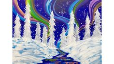 Beginners learn to paint Acrylic | Aurora Borealis Landscape | Winter Wo...