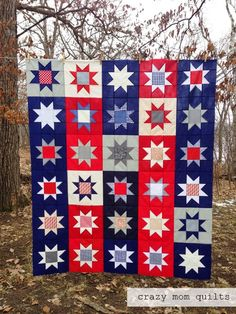 crazy mom quilts: Made in America, Maverick Star Quilt pattern using American Made Solids and prints, love the layout of the blocks