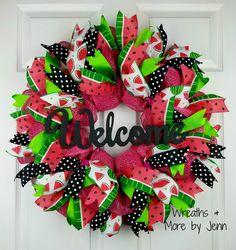 Watermelon Deco Mesh Wreath Summer Burlap by WreathsandmorebyJenn