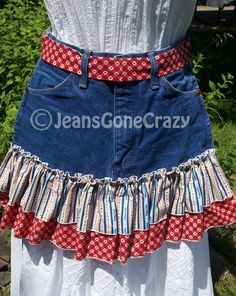 Red and Blue Love Dogs Repurposed Jean Waist by JeansGoneCrazy, $25.00