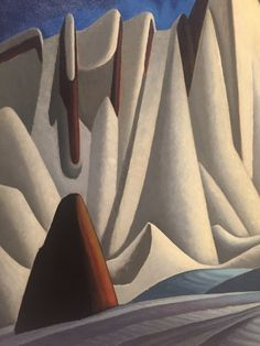 "Lawren Harris, detail of ""Mountains in Snow: Rocky Mountain Painting VII"" (c. oil on canvas, 51 x 58 in. Canadian Painters, Canadian Artists, Abstract Landscape, Landscape Paintings, Acrylic Paintings, Landscapes, Group Of Seven Paintings, Art Gallery Of Ontario, Mountain Paintings"