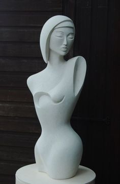 Hand made marble/ mineral stone Torsos Females/Women /Girls/Damsels #sculpture by #sculptor Jo Ansell titled: 'Galia- (Contemporary style Female Torso Carved stone statue sculpture)' #art