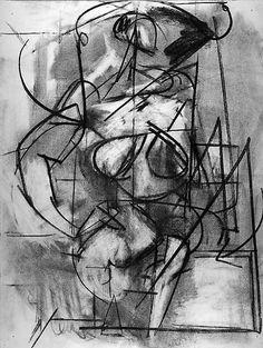 Seated Female Figure Number 3  Artist:Perle Fine (American, Boston, Massachusetts 1908–1988 East Hampton, New York) Date:1938 Medium:Charcoal on paper Dimensions:H. 24-7/8, W. 18-3/4 inches