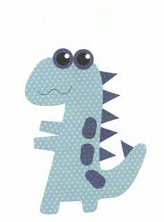 Blue Dino Nursery Artwork Print // Baby Room by 3000yardsofthread, $14.00