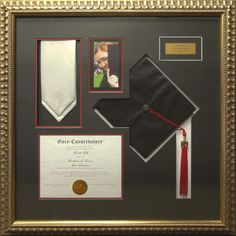 I framed Sean and my diploma and tassel, this is cute too for the boys or could maybe do something similar for the girls?