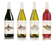 Illustrations for The Fishwives Club wine by Soil Design.