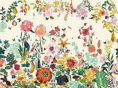Descarga el catálogo y solicita al fabricante Domestic los precios de papel pintado de flores Jardin creme, diseño Nathalie Lété, colección The New Domestic Landscape