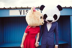 Bear Head Engagement Shoot. This is awesome and perfect for my boyfriend who doesn't smile. Not that we are getting married!