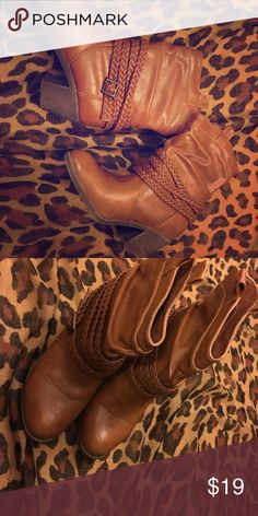 Size 6 western style boots Tan worn once Size 6 western style boots Tan Shoes Ankle Boots & Booties