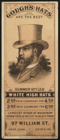 Gough's Hats trade card. New York: Beatty, Forst & De Yongh, Lith. 1870 - 1900 (approximate). Boston Public Library. Date issued: