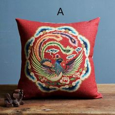 Phoenix decorative pillows for couch Chinoiserie red sofa cushions