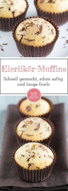 Einfaches und extrem schnelles Muffins-Rezept mit tollem Ergebnis: Die köstlichen Eierlikörmuffins mit Schokostreuseln und Öl werden richtig schön saftig!