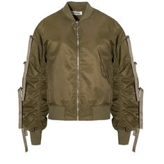 Green Bow Tie Sleeve Ring Bomber Jacket ($128) ❤ liked on Polyvore featuring outerwear, jackets, flight jacket, zipper jacket, zip jacket, bomber jacket and blouson jacket