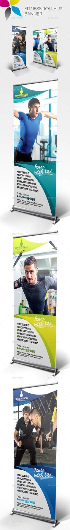 Fitness Roll-up Banner Template #design Buy Now: http://graphicriver.net/item/fitness-rollup-banner/12852919?ref=ksioks