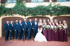 Winter garden wedding groomsmen with shades of marsala, berry & burgundy. The bridal party :)