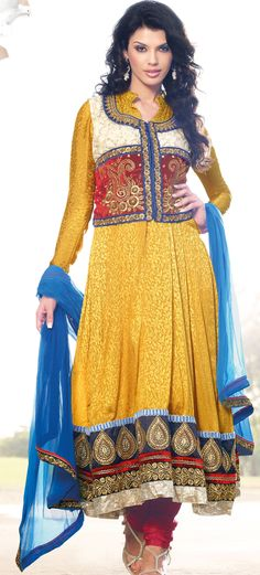 Yellow Jacquard #Pakistani #Salwar #Fashion #Design | @ $139.01