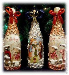 Crafts With Glass Jars, Glass Bottle Crafts, Wine Bottle Art, Jar Crafts, Christmas Decoupage, Christmas Crafts, Handmade Crafts, Diy And Crafts, Christmas Wine Bottles