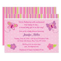 Baby Erfly Shower Invitations Custom Pink Having A