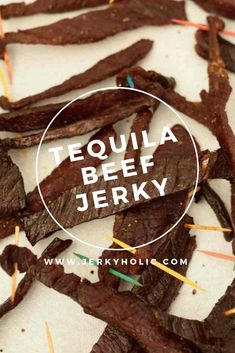 This easy, delicious Tequila Beef Jerky packs all there punch of a tequila shot that you can happily enjoy as a midday snack without having to wait until happy hour! Best Beef Jerky, Homemade Beef Jerky, Jerky Recipes, Homebrew Recipes, Dehydrated Food, Dehydrator Recipes, Fermented Foods, Canning Recipes, Yummy Food