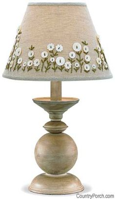 Lampshade looks wonderful with button flowers & some embroidery! More