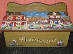 Boite aux lettres peint à la main par Mary-Krystine Trottier Toy Chest, My Design, Creations, Country, Create, Home Decor, Art, Pintura, Painting On Wood