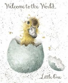 A beautiful new baby card with an adorable hatching duckling design.Little One.The wonderful illustration is from a watercolour entitled Little One by Hannah Dale. Watercolor Bird, Watercolor Animals, Animal Paintings, Animal Drawings, Nursery Paintings, Wrendale Designs, New Baby Cards, Whimsical Art, Bird Art