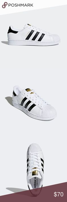 Men's Superstar Adidas, Size 8 These are Adidas Superstar shoes, men's size 8, and is a women's size 9. They're white with three black stripes on either side, with the gold 'superstar' logo written in gold on one side. They are in good condition, barely worn.   Please let me know if you have any questions! adidas Shoes Sneakers
