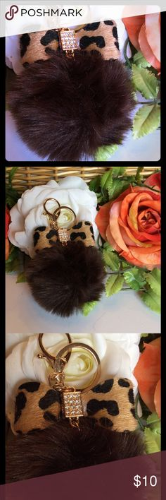 "POM POM KEYCHAIN BROWN FLUFFY POM POM KEYCHAIN WITH LEOPARD BOW AND GOLD RHINESTONE DETAIL. HARDWARE IS GOLD. NEW IN BAG. SIZE 3 1/2"" FROM TOP OF BOW. boutique Accessories Key & Card Holders Rhinestone Bow, Weekend Wear, Key Card Holder, Pom Poms, Luxury Lifestyle, Fashion Tips, Fashion Design, Fashion Trends, Fashion Boutique"
