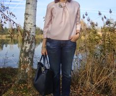 Sewionista: Me-Made-Mittwoch 05. November 2014 - light pink silk blouse, statement necklace, boyfriend jeans
