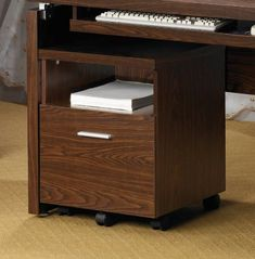 Coaster Peel Mobile File Cabinet with Shelf and Drawer in Brown by Coaster Home Furnishings. $112.41. This mobile file cabinet offers a unique combination of shelf and drawer storage to meet your home office organization needs. An open shelf is ideal for storing paper and office supplies close at hand, while a lower file drawer keeps files, papers and sensitive documents safely hidden away. Slide under the coordinating desk for a built-in look, or place on its ...