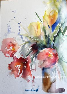 abstract watercolor floral painting by lindsay megahed Watercolor Pictures, Abstract Watercolor, Watercolour Painting, Watercolours, Abstract Flowers, Watercolor Flowers, Pinturas Em Tom Pastel, Arte Floral, Painting Inspiration